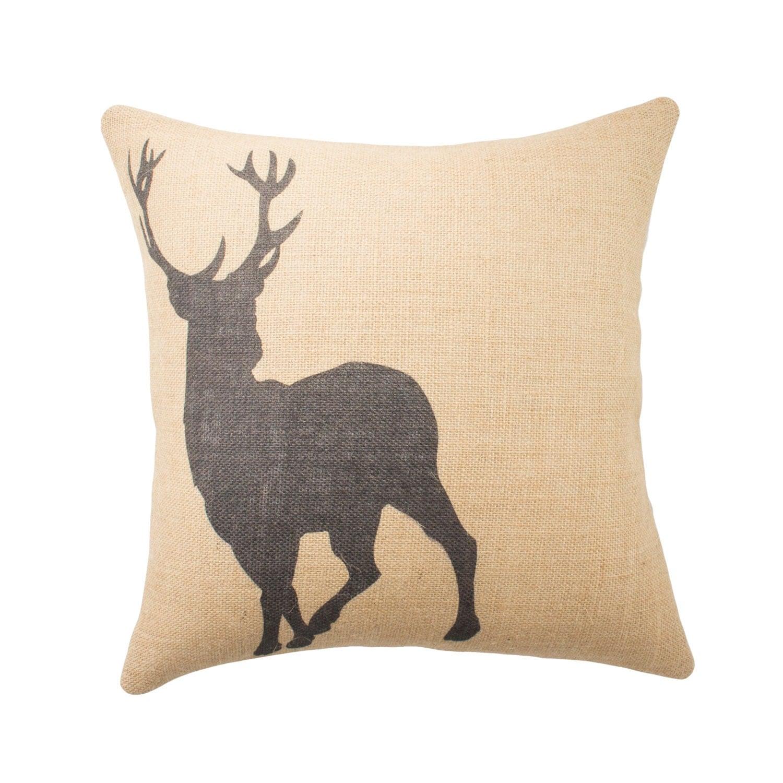 Throw Pillows Ross : Deer Pillow Burlap Pillow Cushion Rustic Decorative Throw