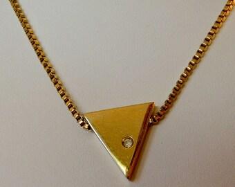 Vintage Crown Trifari Gold Modernist Diamond Pendant Necklace   Orginal Metal Hang Tag