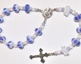 Beautiful Handmade Lampwork Mini Single Decade Rosary Chaplet - Purple & White Lampwork with Clear Swarovski Crystals