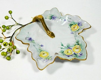 Hand Painted Leaf Shaped Nappy Dish Roses and Violets