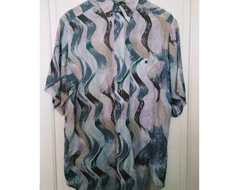 Vintage 80s Chiffon Patterned Shirt L