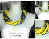 Upcycled HYBRIO scarf-necklace/Recycled yellow/grey/Woman's/Handmade colorful/Repurposed material/Soft/Eco friendly/Jersey stripes