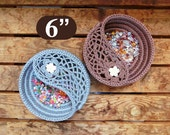 """Yin yang jewelry dish crochet Pattern 6"""", crochet home decor, gift for her. Jewelry plate Photo Tutorial, Instant Download PDF."""