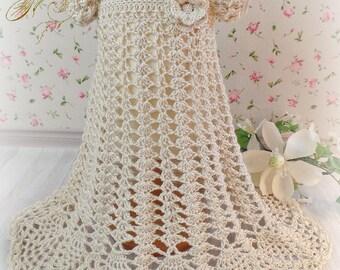 Baby Girls Silk Crochet Baptism / Christening / Blessing Dress, Bonnet, Booties, Headband / Ecru or White
