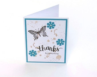 Butterfly Thank you card, blue flowers brown butterflies Thanks for everything blank notecard