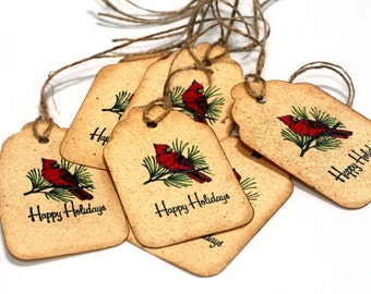 Vintage christmas gift tags, Red Cardinal bird, happy holiday favor tags, bird favor tags