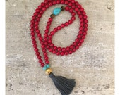 Red Mala beads. Tassel necklace. Beaded necklace. 108 mala beads
