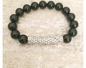 SALE Onyx beaded bracelet with pave rhinestone bar