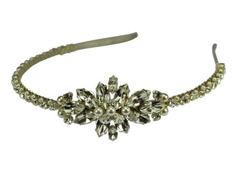 Diamante & pearl side tiara headband