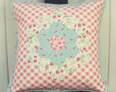 sweet hexie flower strawberry and pink gingham pillow cover 16x16