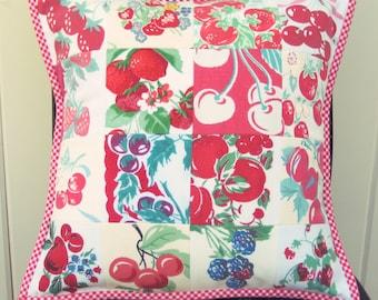 vintage fruit patchwork pillow cover 14x14