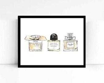 "Watercolor Fashion Illustration ""Perfume Addict"" Giclee Art Print Home Decor Wall Art"