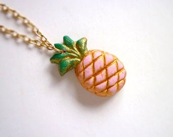 Pineapple Necklace, Girls Jewelry, Summer, Pina Colada, Tropical fun