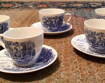 """Rare (Set of 5) Vintage Wedgwood """"Countryside"""" China, Blue and White, 5 Cups & 5 Saucers, Teacup, Mug, Made in England"""