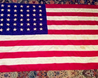 Vintage 48 Stars 1950s, Nylon 3' X 5' U.S. Flag, Old Glory, Some Stains, Stars are Sewn On, MADE USA