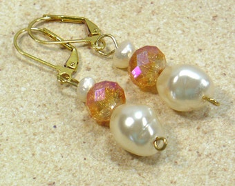 Freshwater Pearl Drop Earrings, Gold Dangle Earrings, Czech Glass and Pearls, Nickle-Free Earwires, Gifts for Her, Handmade, Ready to Ship