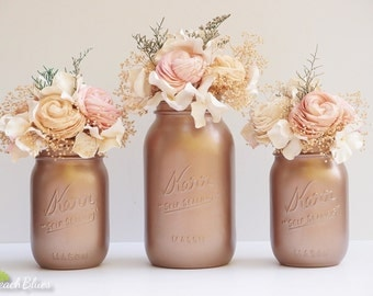 Rose Gold painted mason jars / wedding decor / centerpiece / vase  / romantic wedding / rustic decor / set of 3 / 2 pints 1 quart