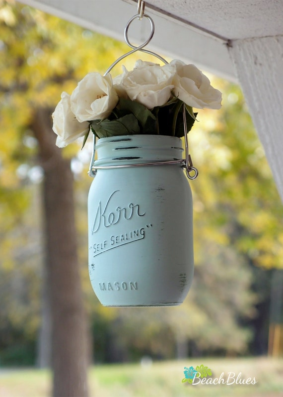hanging painted mason jars gift for her home decor outdoor vase
