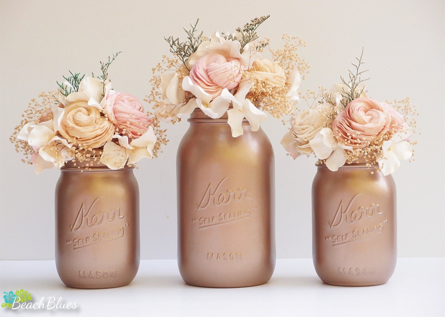 Fall wedding decor tawny bronze painted mason jars for Decoration rose gold