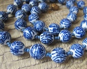Chinese Export BLUE & WHITE Porcelain Glass Round Bead Necklace, Asian hand strung w double knots. Symbolic SHOU Good Luck Design. Oriental