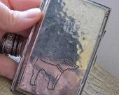 Art Deco Silver Plate Cigarette Case.Silver Metal Wallet Card Case.Terrier Dog Vintage Fashion Accessory.Purse Accouterments.A Place 4 Money