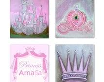 Nursery decor, Baby Girl Nursery, Pink Princess Decor, Nursery Wall Art, Kids Decor, Castle, Custom Name, Kids wall art, Girl nursery art