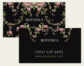 Botanical Business Card Design Black Branding Vintage Flowers Vintage Branding Shabby Business Card Design OOAK Roses Rose Floral Pink Green