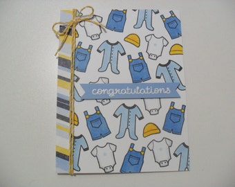 Baby Boy Card - Baby Shower Card - Baby Clothes Card - Congratulations - BLANK Inside