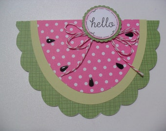 Thinking of You Card - Watermelon Card - Hello - BLANK Inside