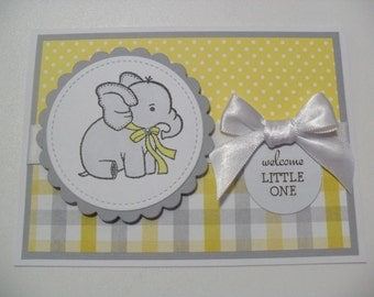 Handmade Baby Card - Baby Elephant Card - Welcome Little One - Yellow/Gray/White - BLANK Inside
