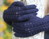 Hand Knitted Gloves, dark blue, Elegant Arm Warmers Gloves With Fingers, For Her, Gift Ideas, Winter Accessories, autumn Fashion Trends