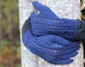 Hand Knitted Gloves, dark blue, navy blue, Elegant Arm Warmers Gloves With Fingers, Gift Ideas, Winter Accessories, winter Fashion Trends