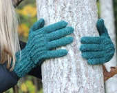 Hand Knitted Gloves, dark emerald green  Elegant Arm Warmers Gloves With Fingers, Winter Accessories, spring Fashion Trends
