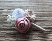 Vintage Ribbon Rose Boutonniere, White, Dirty Pink and Champagne Boutonniere, Vintage Boutonniere