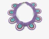 Crochet Necklace Multciolor Motifs Statement Necklace / Crochet Necklace / Boho Necklace / Crochet Choker / Gift under usd 30 / Festival Jew