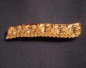 Swarovski Curved Bar Pin or Brooch, Gold Tone