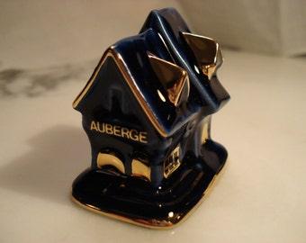 Limoges Castel Miniature Auberge Inn Cobalt and Gold