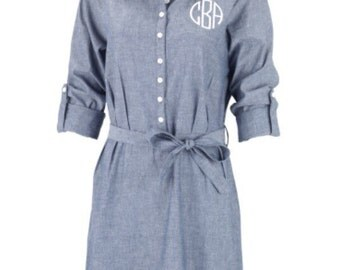 Monogrammed Chambray Dress, Fall Wardrobe, monogrammed Dress, Bridal Party, Gift for Her, Gameday Dress