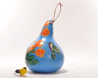 Gourd Birdhouse Painted with Orange Trumpet Vines and Hummingbird