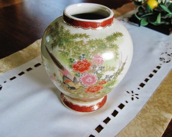 Japanese Vase with Pheasants, Flowers, Gold, Handpainted Japanese Mark with JAPAN