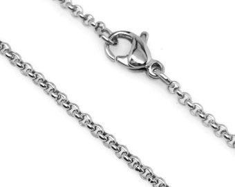 Stainless Steel Necklace Chain, 2mm, Lobster Clasp Closure, Rolo Chain, Hypoallergenic Jewelry