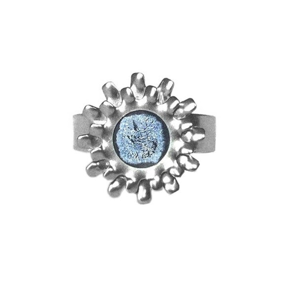 Womens Adjustable Silver Ring, Stainless Steel Gear Ring, Light Blue, Fashion Jewelry