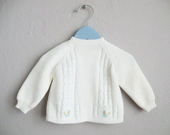1960s Vintage White Baby Sweater Blue Dogs Embroidered Button Back / 6 9 Months