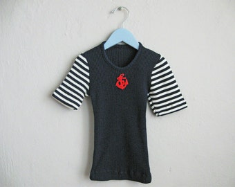 1960s T-Shirt Nautical Kids Shirt Navy Blue White Stripe Red Anchor / 4 6