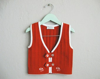 Childrens Vest 1960s Vintage Rust Brown White Trim Ribbed Knit Vest / 2
