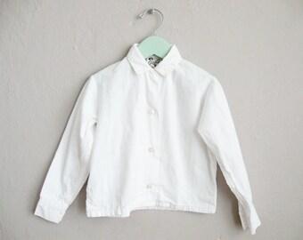 1950s Blouse / Girls' White Cotton Shirt / 50s Vintage Blouse / 4 5