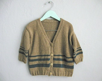 Kids Sweater Brown Childrens Cardigan Striped Sweater / 4 5 6