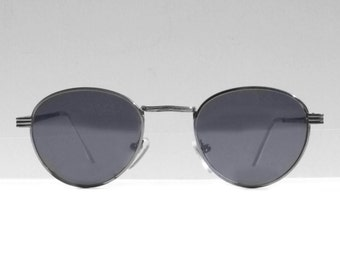Round P3 Sunglasses / Mens Gatsby Glasses / John Lennon Glasses / Grey Lenses / Silver Gunmetal Frames / O'Malley Sunglasses
