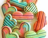 Valentines Day / Heart / Watercolor / Tye dye Sugar Cookies with Buttercream Frosting