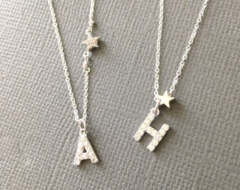 Silver initial Charm with star Necklace, CZ embedded Initial charm, dainty, silver jewelry, Uppercase letter necklace, gift for her, muse411